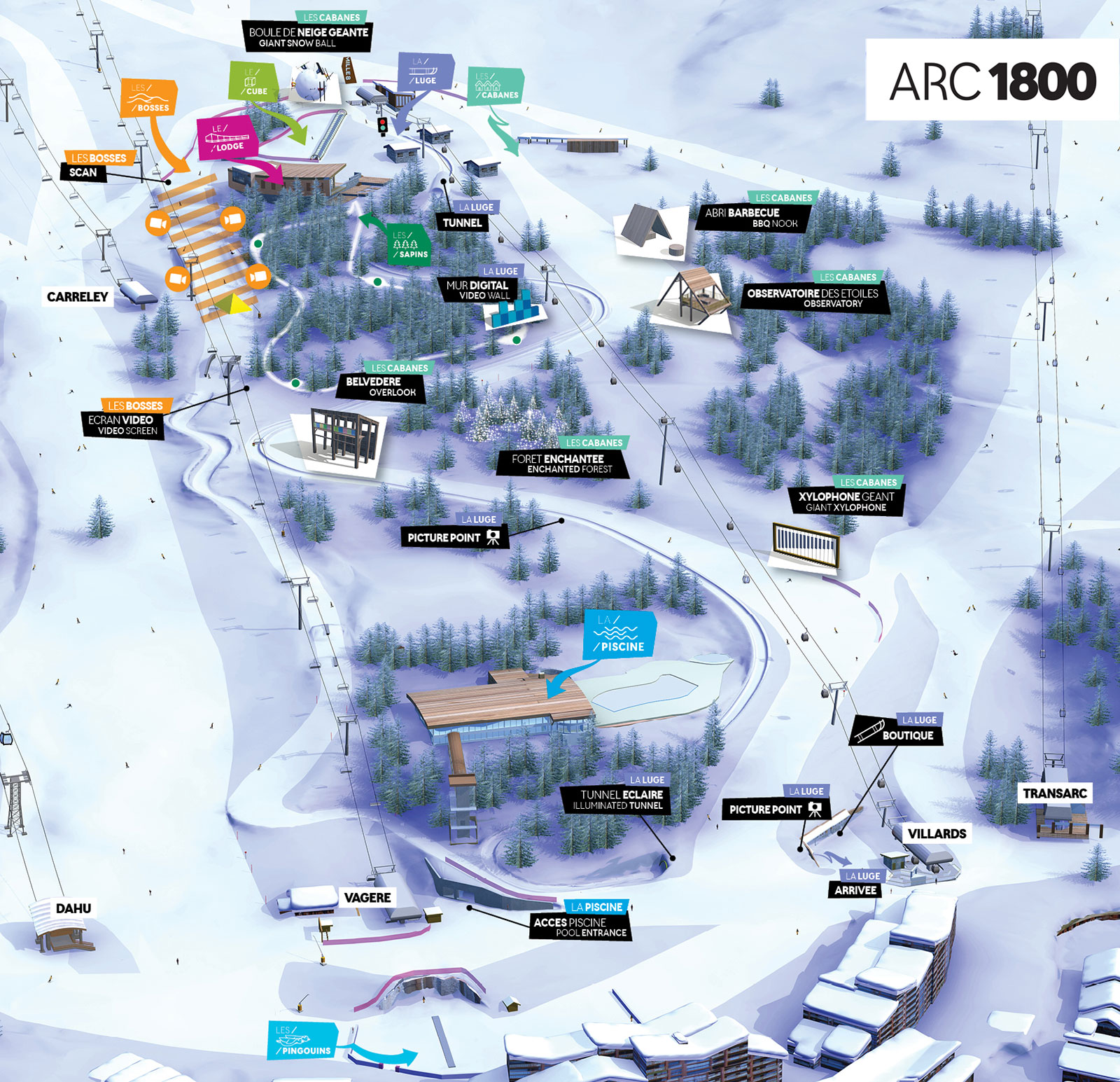 Luge En Bois Intersport : Les Arcs Ski Map